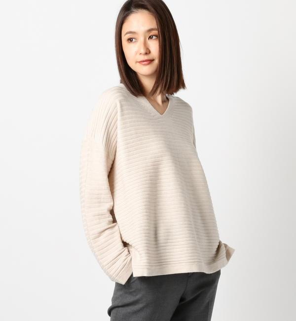 【ミューズ リファインド クローズ/MEW'S REFINED CLOTHES】 Vネックルーズドルマンニット