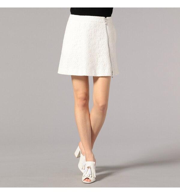 【GUILD PRIME】WOMENS レースジップアップスカート【ギルドプライム/GUILD PRIME レディス スカート ホワイト ルミネ LUMINE】