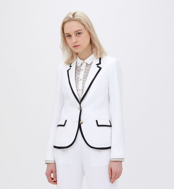 <アイルミネ> ホワイト パイピングジャケット