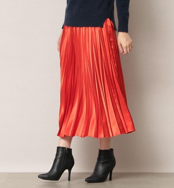 【エポカ ザ ショップ/EPOCA THE SHOP】 【EPOCA THE SHOP】カラーサテンプリーツスカート
