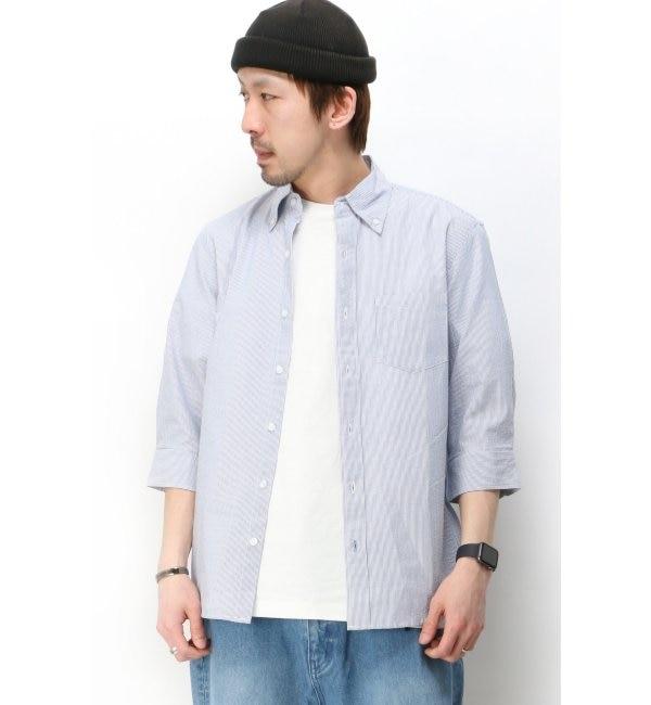 【イッカ/ikka】 サッカーストライプ7分袖シャツ