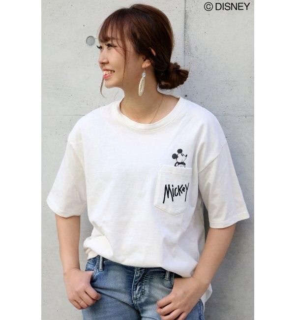 【ヴァンスシェアスタイル/VENCE share style】  ミッキーinポケットビッグTシャツ