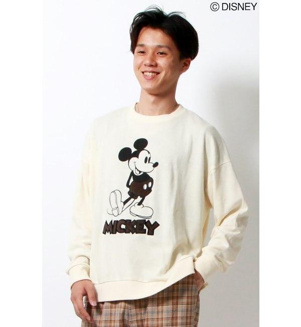 【ヴァンスシェアスタイル/VENCE share style】 Disney(ディズニー)ミッキーコーディロイBIGトレーナー