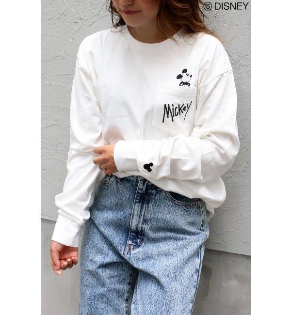 【ヴァンスシェアスタイル/VENCE share style】 Disney(ディズニー)ミッキーポケット刺繍ロングスリーブT