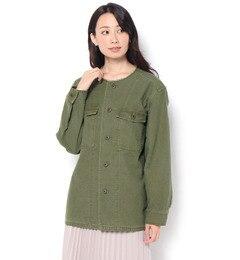 【フラワー/flower】nocollarfatigueshirts?ノーカラーファティーグシャツ[送料無料]