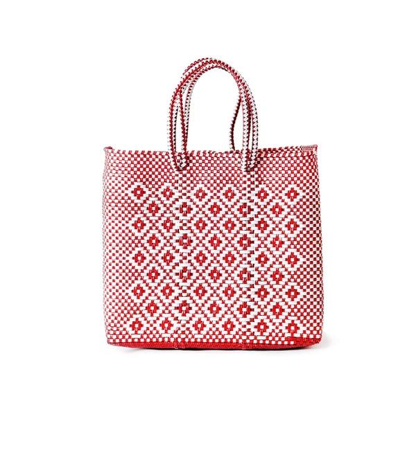 MERCADO BAG ROMBO MIX (S)~ メルカドバッグ ロンボ ミックス-(S)【フラワー/flower レディス かごバッグ RED ルミネ LUMINE】