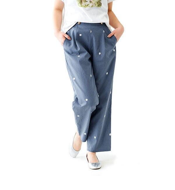 【カタログ掲載】floating flower pants ~フローティングフラワーパンツ【フラワー/flower レディス チノ BLU ルミネ LUMINE】