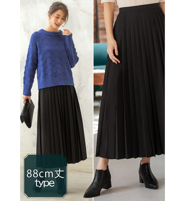 【スタイルデリ/STYLE DELI】 88cm丈ミドルピッチプリーツスカート