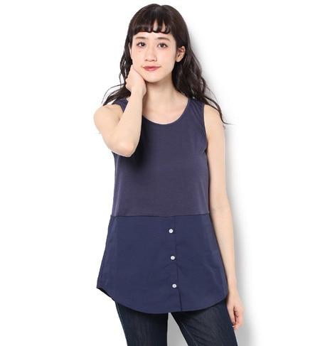 【ライチ/ライチ】 La premiere 裾シャツレイヤードタンクトップ [3000円(税込)以上で送料無料]