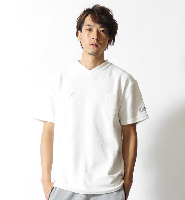 【カンゴール リワード/KANGOL REWARD】 金糸刺繍パイルVネックTシャツ