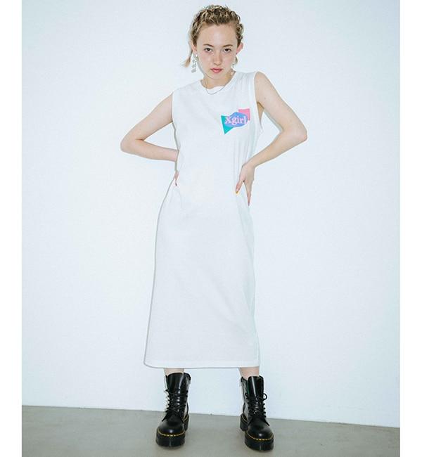 【エックスガール/X-girl】 PLANE SHAPES LOGO TANK DRESS