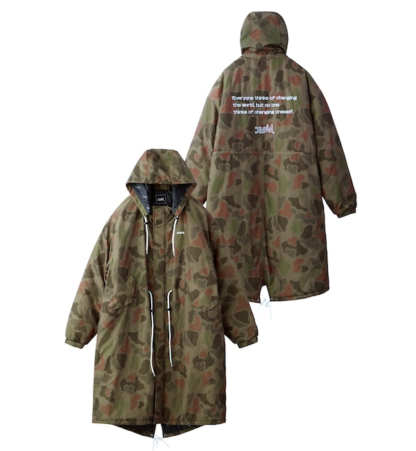 【エックスガール/X-girl】 【WEB限定】CAMO HOODED PUFFER COAT EC