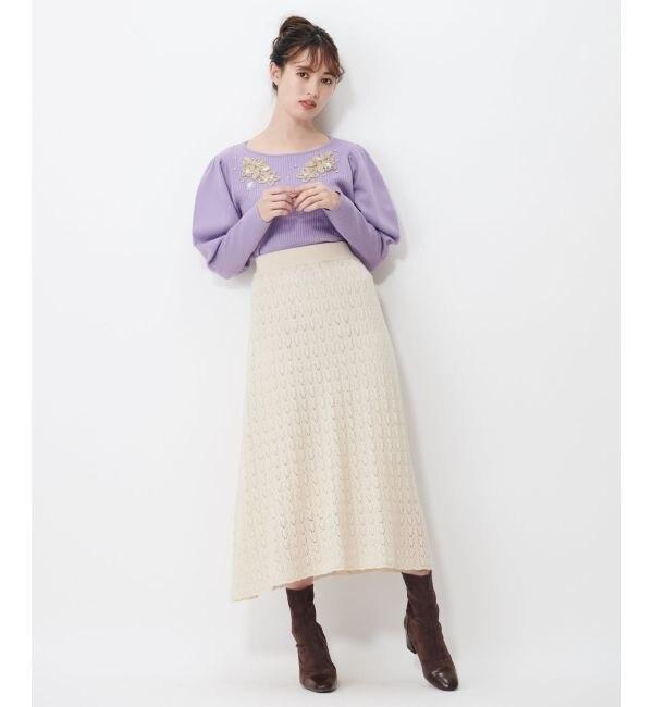 【シュープリームララ/Supreme.La.La.】 スカシアミAラインニットスカート