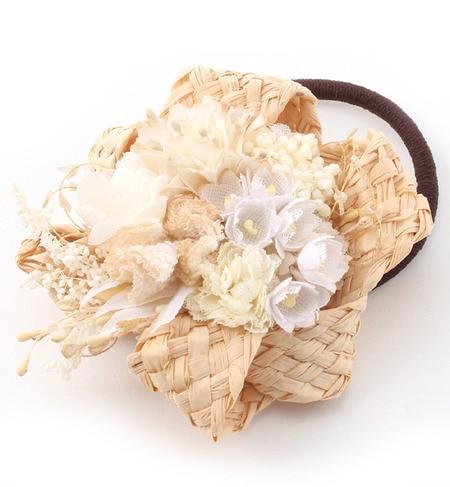 【エムスール/m.soeur】 ラフィアとお花のヘアゴム [送料無料]