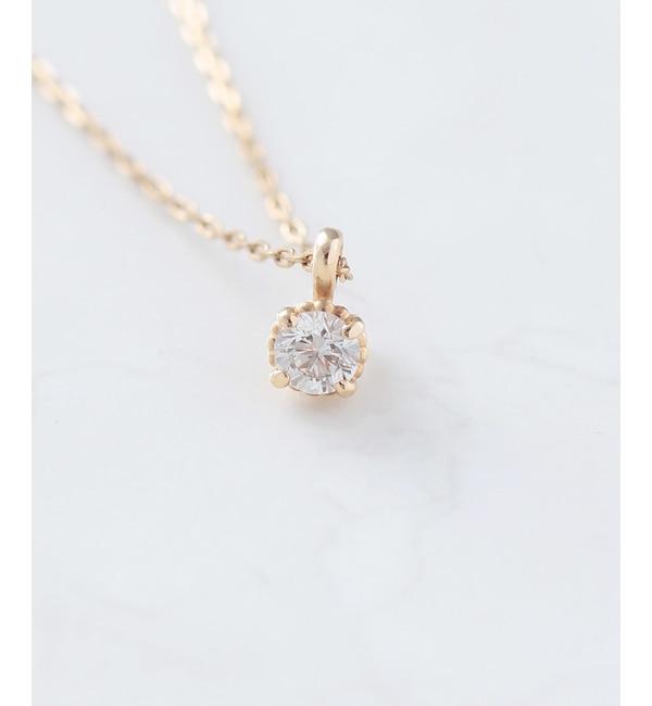 【ノワール ド プーペ/NOIR DE POUPEE】 K10 一粒ダイヤモンド(0.06ct) ネックレス