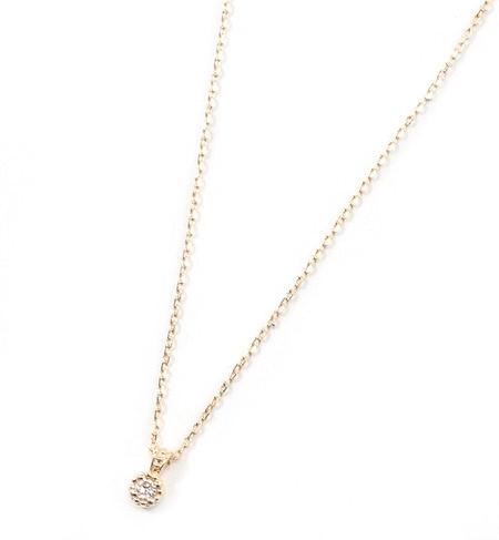 【ミロア/miroir】 K10 ダイヤ一粒ネックレス [送料無料]