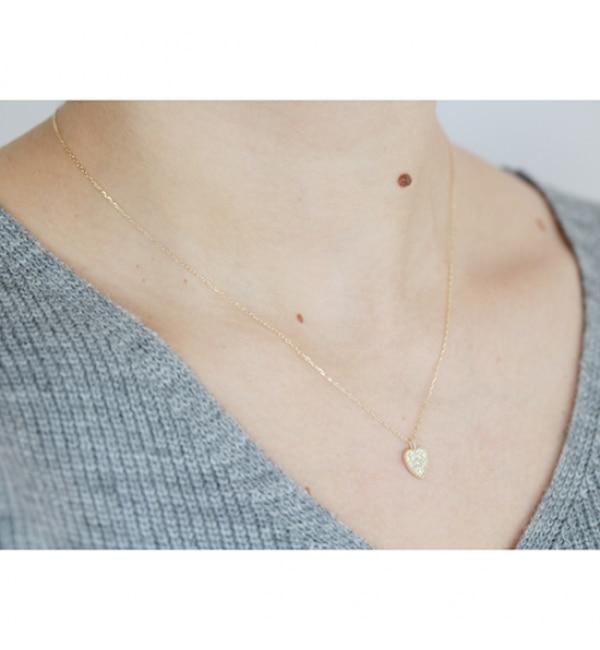 【キュイキュイ/cui-cui】 K10YG ダイヤモンド ハートプレート ネックレス