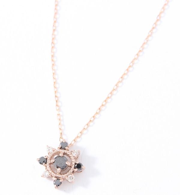 【キュイキュイ/cui?cui】 ブラックダイヤとダイヤ K10PGネックレス [送料無料]