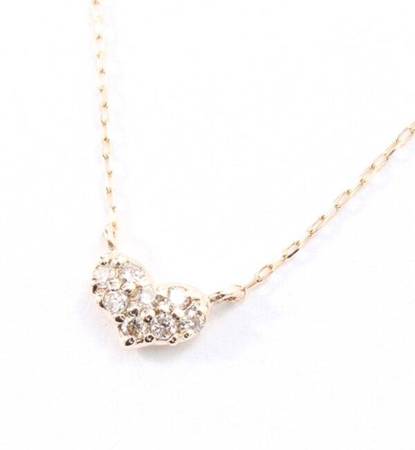 【キュイキュイ/cui-cui】 K10YG ダイヤモンド ハート ネックレス
