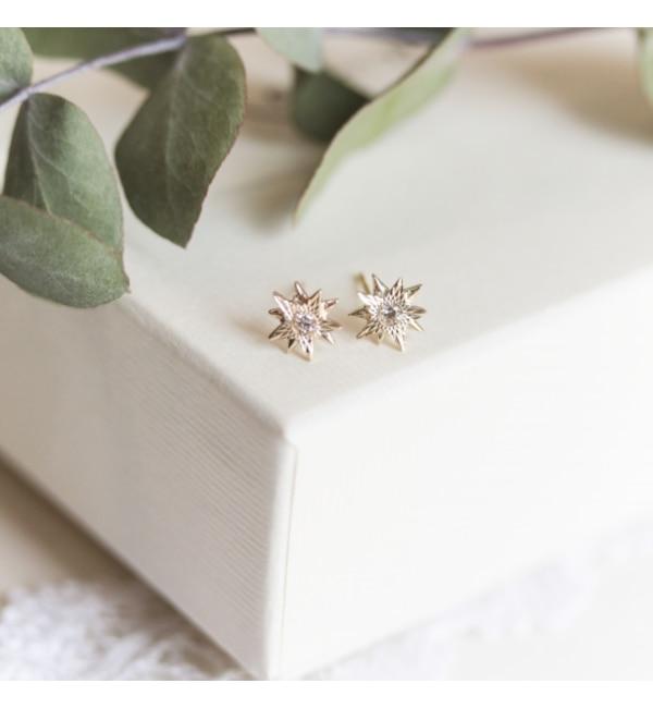 【キュイキュイ/cui-cui】 K10YG ダイヤモンド スター ピアス