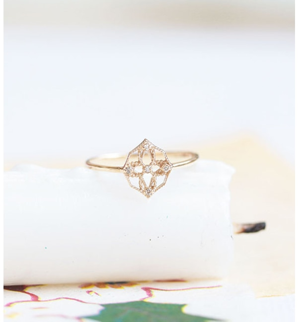 【キュイキュイ/cui-cui】 【Web限定】K10YG 世界最小ダイヤモンド 透かしリング