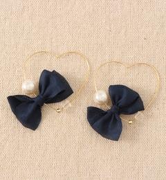 【ワームス/warmth】 Pearl Ribbon ◆ Heart pierce hoop [送料無料]