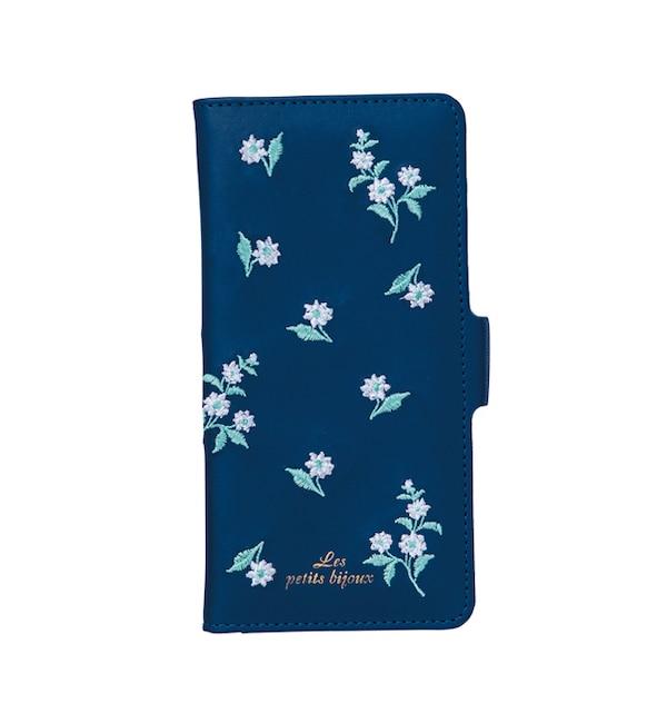 【ボン・フェット/Bonnes Fetes】 【iPhoneX対応】手帳型ケース・フラワー刺繍/デジタルアクセサリー