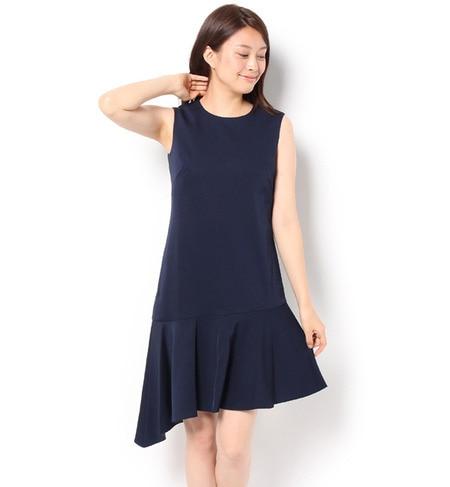 【アンド クチュール/And Couture】 強撚綾二重織りアシメトリードレス [送料無料]