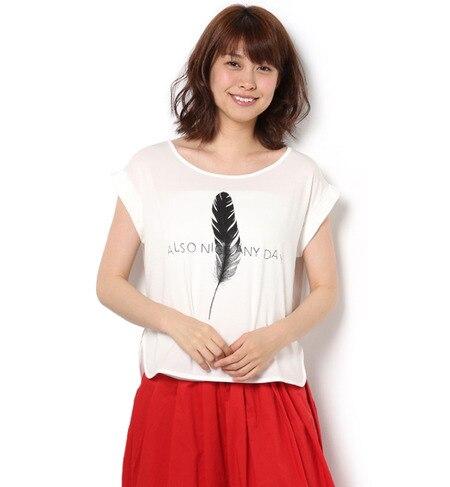 【アンド クチュール/And Couture】 羽根モチーフフレンチスリーブTシャツ [送料無料]