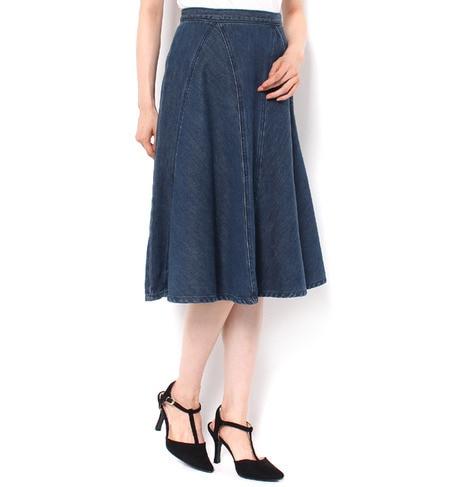 【アンド クチュール/And Couture】 綿/デニム切替えフレアースカート [送料無料]