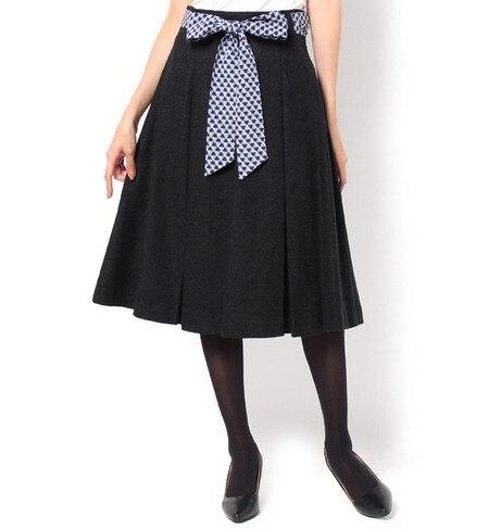 【アンド クチュール/And Couture】 ウールボタニースカーフ付きスカート [送料無料]