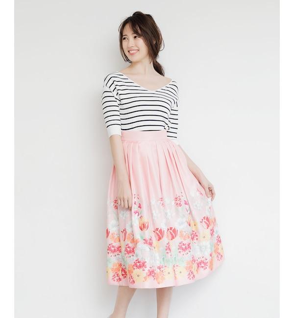 【アンドクチュール/And Couture】 HANYシャンタンパネル花柄フレアスカート