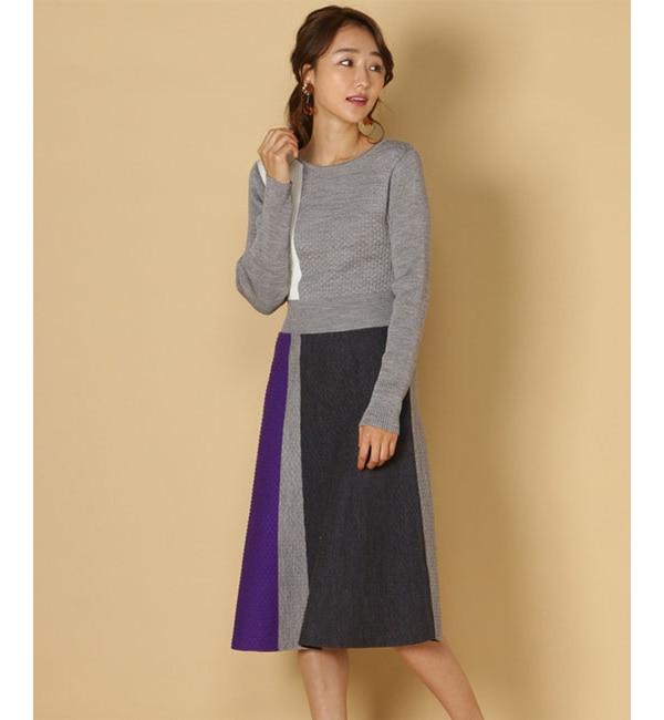 【アンドクチュール/And Couture】 4配色インターシャワンピース