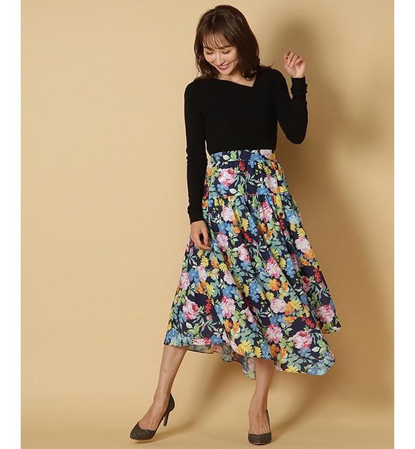 【アンドクチュール/And Couture】 HANY ルイーズプリントギャザー切り替えスカート