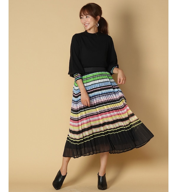 【アンドクチュール/And Couture】 HANY レインボープリントプリーツスカート
