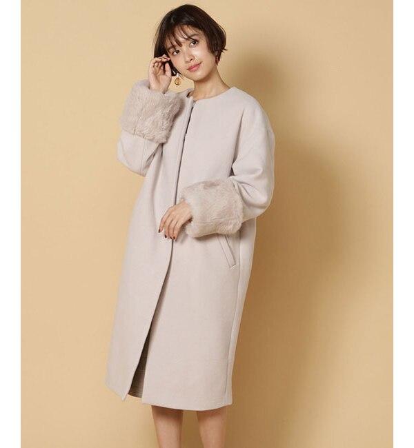 【アンドクチュール/And Couture】 ラビットファー袖ラグランコート