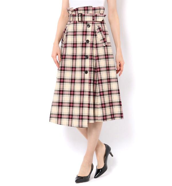 【アンドクチュール/And Couture】 タータンチェックハイウエストスカート