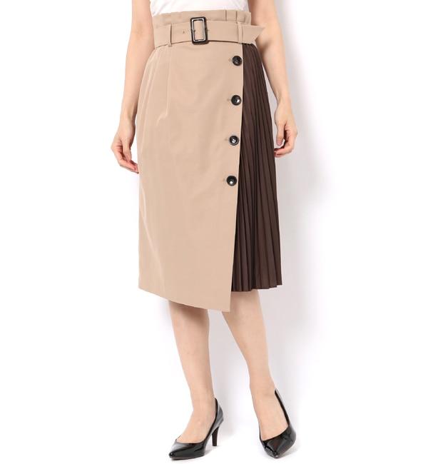 【アンドクチュール/And Couture】 サイドプリーツハイウエストスカート
