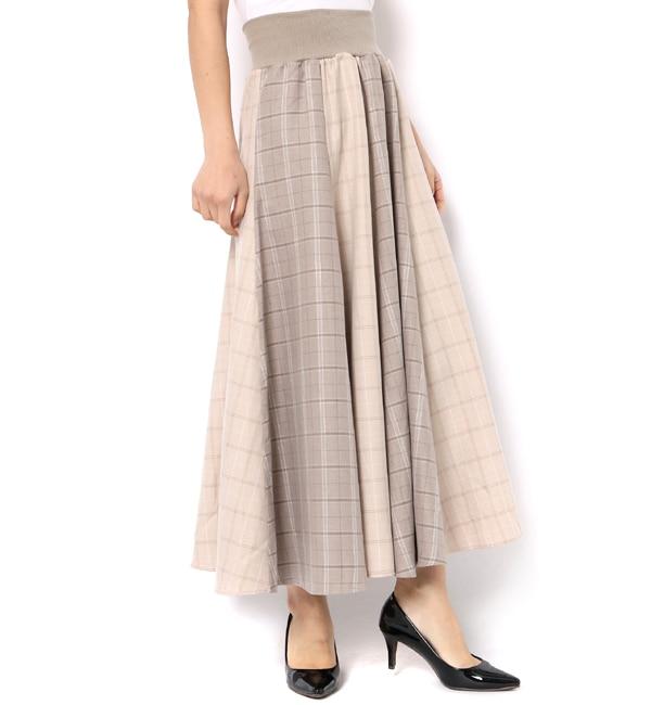 【アンドクチュール/And Couture】 チェックコンビネーションロングスカート