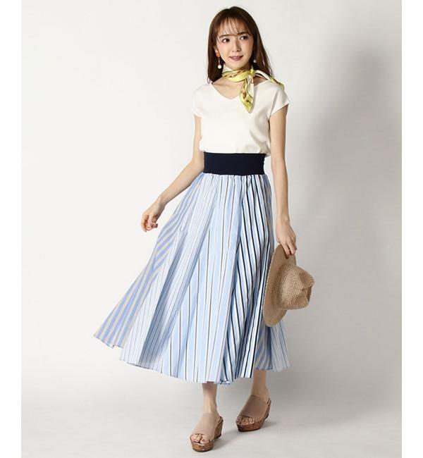 【アンドクチュール/And Couture】 【andGIRL4月号掲載】カラーストライプロングスカート