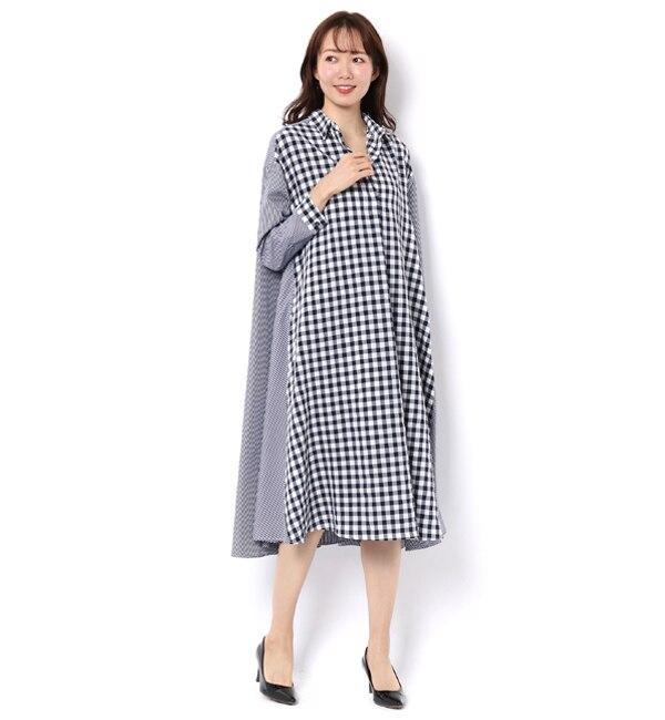 【アンドクチュール/And Couture】 ギンガムxストライプロングシャツワンピース