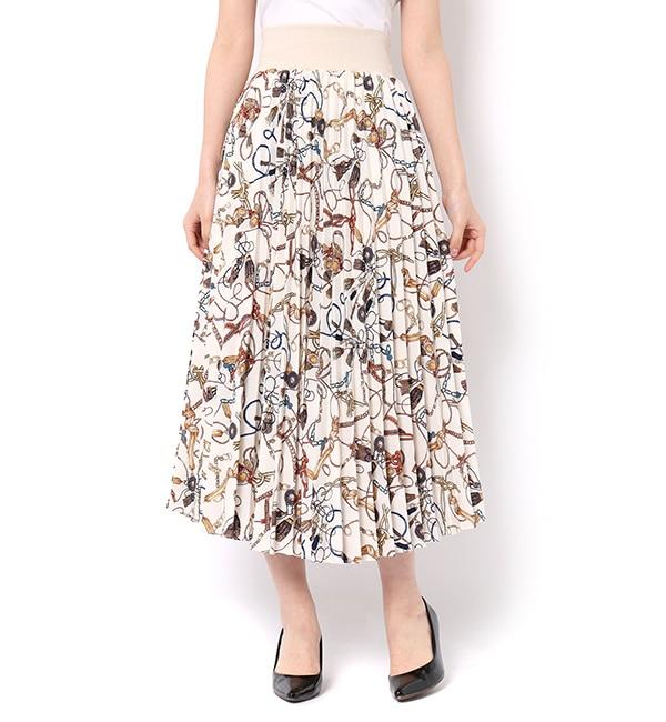 【アンドクチュール/And Couture】 スカーフ柄プリーツロングスカート