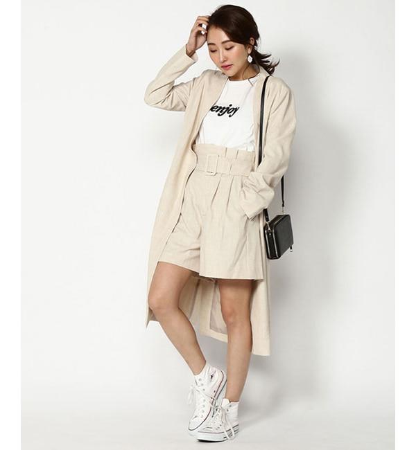 【アンドクチュール/And Couture】 【WEB限定】リネンライクベルト付きショートパンツ