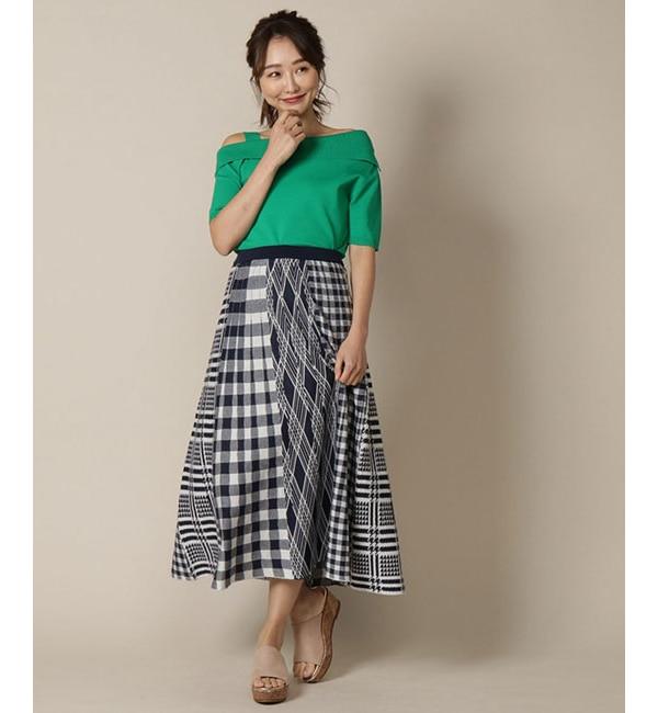 【アンドクチュール/And Couture】 MIXチェック切り替えニットスカート
