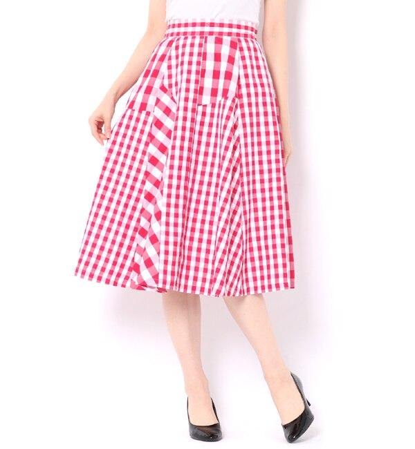 【アンドクチュール/And Couture】 ギンガムミックスコンビスカート