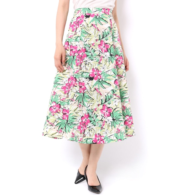 【アンドクチュール/And Couture】 【andGIRL6月号掲載】ボタニカルグログランフラワーフレアスカート
