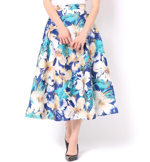 【アンドクチュール/And Couture】 【andGIRL6月号掲載】3Dフラワープリントフレアスカート