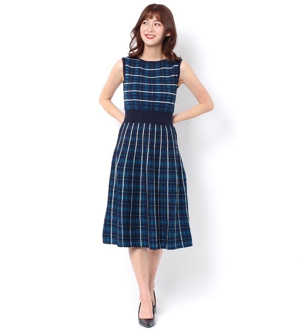 【アンドクチュール/And Couture】 3色チェック柄ワンピース