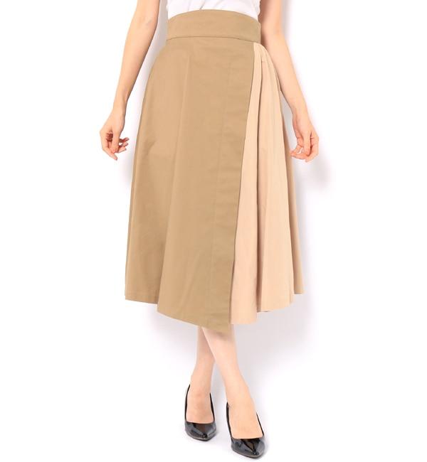 【アンドクチュール/And Couture】 カラーストレッチコンビフレアースカート