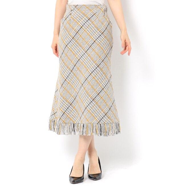 【アンドクチュール/And Couture】 チェックツィードフリンジスカート